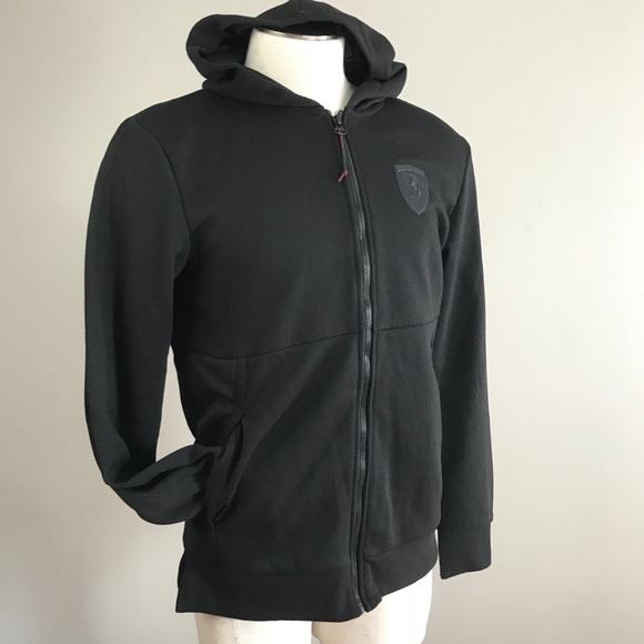 4a53a71959f1 Ferrari Puma men black hoodie sweat track jacket M